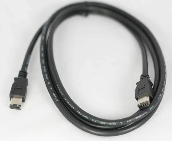 6FT FIREWIRE CABLE BLACK 6PIN 6PIN