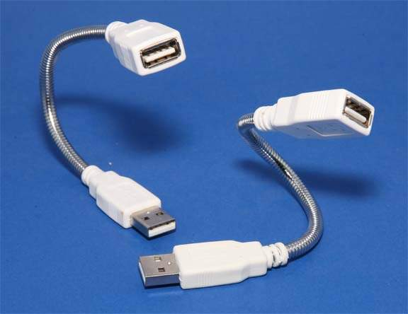 USB 2.0 Gooseneck Cable 8 Inch Chrome Flex